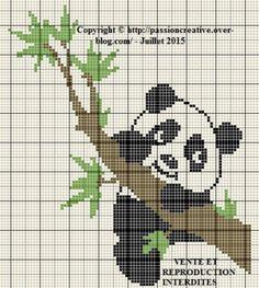 Grille gratuite point de croix : Panda sur branche