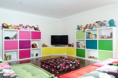 Rainbow fun play room!    Although ours won't have a TV and will have WAY more crafts/art/dramatic play/books/etc.