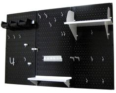 Black Pegboard with White Peg-Board Accessories by Wall Control Storage Systems Black Pegboard, Pegboard Garage, Metal Pegboard, Garage Tool Organization, Organisation Ideas, Lumber Storage, Tool Storage, Storage Systems, Tool Board
