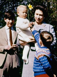 Royal Windsor:  Prince Charles, Prince Edward held by Queen Elizabeth, Prince Andrew
