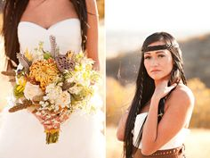 Pocahontas inspired bridals  LOVE the bouquet, and the hair!!!