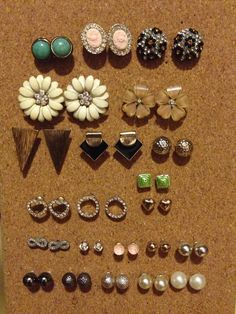 Cork boards are great for earrings you keep misplacing...