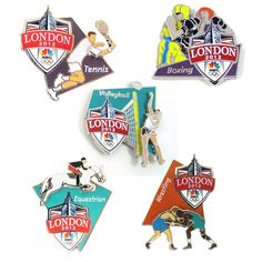 2012 Olympics Movable Pin Set - LIMITED QUANTITIES AVAILABLE Bring the action of the Games to life with the 2012 Olympics Moveable Pin Set. Each pin has a sliding action that mimics the actions of various events: Beach Volleyball, Boxing, Equestrian, Tennis and Wrestling