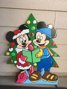 mickey and minnie wood cutout christmas yard art mickey mouse holiday mickey christmas wood yard cutouts minnie mouse disney christmas - Disney Wooden Christmas Yard Decorations