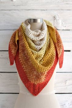 """Augusta Shawl is Fiery Red and full of color. This free pattern can be downloaded over at Fairmountfibers.com Download Pattern Designer Andrea Mules Finished Size 56"""" wingspan, 27"""" depth"""
