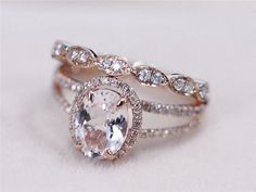 2 Rings Set - VS 7x9mm Pink Morganite Ring with Diamond Matching Band Wedding Ring Set 14K Rose Gold Morganite Ring Diamond Engagement Ring