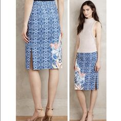 "Anthropologie Becancour Pencil Skirt – 4 - NWT Anthropologie Becancour Pencil Skirt – DETAILS: Retail $118 – Color: Blue Motif – Size: 4 – Style #38140943 - Woven cotton, spandex - Slim pencil silhouette – 25.5""L – 14.25"" waist - Slit detail – Side zip - Dry clean - Imported – Brand New with tags Anthropologie Skirts Pencil"
