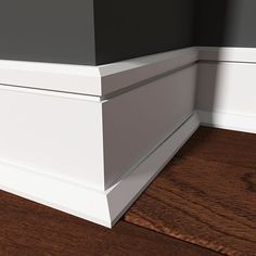 Baseboard and Baseboard Styles. Used to trim walls where they join flooring, baseboards usually measure three to five inches. Baseboard styles are usually simple, and accented with a small piece of quarter-round (semi-circular) trim Baseboard Styles, Baseboard Molding, Floor Molding, Base Moulding, Moldings And Trim, Baseboard Ideas, Crown Molding, Moulding Profiles, Wainscoting