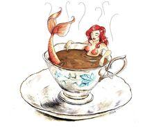 Tea Cup Drawing, Sea Drawing, Teacup Tattoo, Coffee Cup Art, Mermaids And Mermen, Mermaid Art, Fairy Art, Up Girl, Ink Painting
