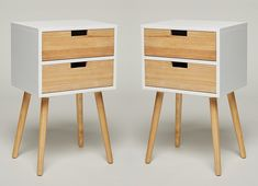 SET of 2: Night Stand with 2 Drawers White Wood Telephone Table Console Table Side Table Bedside Table Sideboard Modern Scandinavian New Retro Look: Amazon.co.uk: Kitchen & Home