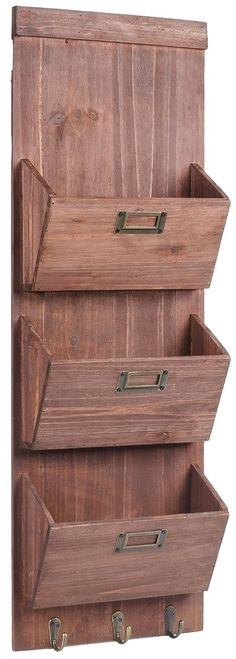 Amazon.com: Dwellbee Rustic Wooden Wall Storage, Mail Sorter, Letter Organizer, and Key Rack (3-Tiers): Office Products