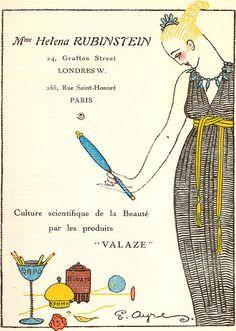 Advertisement of Helena Rubinstein Vintage Labels, Vintage Ads, Vintage Posters, Vintage Photos, Vintage Makeup Ads, Vintage Beauty, Rue Saint Honoré, Vanitas Vanitatum, Art Nouveau