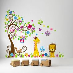 Lion Giraffe Tree Wall DecalThis is a gorgeous decalThis is a peel and stick decal. It is easily applied to the wall and easily removed. These are completely safe for walls and will not peel paint or damage walls.Layout on the wall is approx. 150cm x 220cm (depends on layout)This comes on 2 sheets 60cm x 90cm These do sell out fast so please make sure you get your pre order in now.PLEASE NOTE: This is a pre order and will be sent out to you on the 17th of July if...