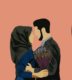 Love Cartoon Couple, Cute Couple Art, Cute Love Cartoons, Cute Couple Pictures, Cute Muslim Couples, Cute Couples Goals, Muslim Photos, Wedding Caricature, Hijab Drawing