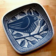 Sgraffito plate 2011 by Laurie Landry At Charlie Parker Pottery, Ceramic Birds, Ceramic Decor, Ceramic Design, Ceramic Clay, Ceramic Painting, Ceramic Plates, Ceramic Pottery, Pottery Art, Painted Pottery