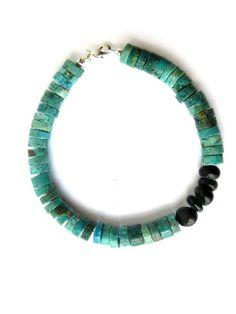 Mens luxury turquoise bracelet for world travelers (by Jenny Hoople of Authentic Arts)