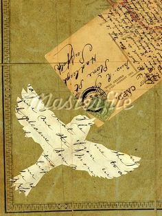 Collage with flying bird, vintage letters, postcard and stamps