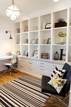 Office | built-ins | desk in front of window, I like the idea but it needs more books!!! Shelf Inspiration, Bookcase Shelves, Glass Shelves, Bookcases, Shelving, Room Organization, Office Built Ins, Built In Desk, Living Room Built In Cabinets