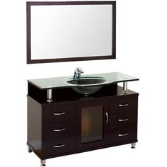 """Accara 48"""" Bathroom Vanity with Drawers - Espresso w/ Clear or Frosted Glass Counter"""