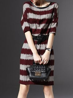 Buy Color Block Striped Batwing Round Neck Shift-dress online with cheap prices and discover fashion Shift Dresses at Fashionmia.com.
