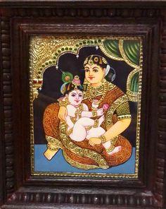 Excited to share this item from my shop: Yasodha krishna Indian gift Tanjore painting Mysore Painting, Kerala Mural Painting, Tanjore Painting, Krishna Painting, Indian Artwork, Indian Art Paintings, Baby Krishna, Lord Krishna, Beautiful Rangoli Designs