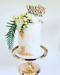 Wedding Cake: Single tier double barrel with textured buttercream, gold leaf, fresh blooms and custom acrylic topper by Studio Double Barrel Cake, Engagement Cakes, Buttercream Cake, Wedding Cakes, Candle Holders, Bloom, Candles, Gold Leaf, Fresh