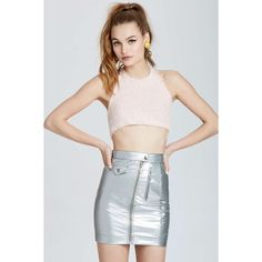 Vintage Moschino Casoria Metallic Skirt (€355) ❤ liked on Polyvore featuring skirts, leather zipper skirt, leather skirt, knee length leather skirt, metallic skirt and 80s fashion