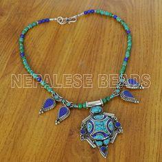 """N1700 Nepalese Handmade Design Turquoise lapis 18"""" from Nepal by Eksha Limbu #Eksha #Necklace"""