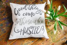 Calling all mom bosses. girl bosses, and those who love the hustle. we created the hustle life line in honor of you! These quote pillows make the perfect for you and all the amazing women who are proving they can have it all in life.  Quote: good things come to those who hustle  This is for the pillow cover ONLY. It fits a 16x16 pillow form. There is a zipper at the bottom and the back is solid grey. The fabric is cotton canvas.