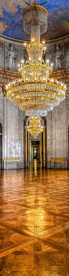 This is the marble hall (Marmorsaal) in the Ludwigsburg Palace in Germany. Ludwigsburg Palace is one of the biggest baroque palaces in Germany. Chandelier, Eiffel Tower Inside, Chandelier Lighting, Beautiful Chandelier, Castle, Chandelier Lamp, Beautiful Lighting, Interior And Exterior, Lights
