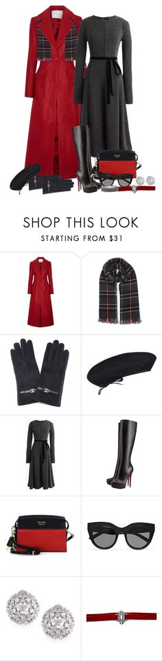 """""""Scarlet and Grey"""" by shelley-harcar ❤ liked on Polyvore featuring ADAM, kangol, J.Crew, Christian Louboutin, Prada, Le Specs, Fallon and Chico's"""