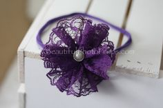 Vintage Lace Flower Headband Purple
