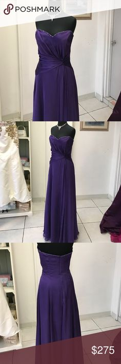 Purple Chiffon Gown Purple and silver beaded trim, side gather skirt and waistband Dresses Strapless