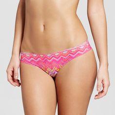 Women's Laser Cut Thong Pink and Orange Geometric Print S - Xhilaration