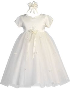 cf63b5aa0 KID Collection Girls Satin & Tulle Flower Girl Pageant Dress. Brightly Kids  · Products · Classy White Baby Baptism ...