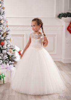 Elfenbein-Spitze- Blumen-Mädchen- Kleid - Hochzeit Brautjungfer Feiertags-Geburtstag- Elfenbein- Tulle -Spitze-Blumen -Mädchen-Kleid
