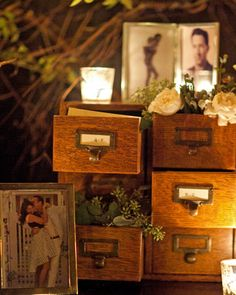 escort cards in card catalogs. love!