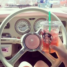 Pretty girly things. Cute and girly #starbucks #pink #vintagecar