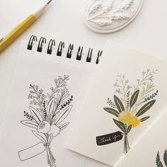 illustration, hand lettered, hand lettering, thank you, drawing, floral, floral moments, greeting card, event card, blank card, stationery, pen drawing