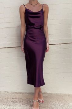 Love this color of silk. We have similar cowl neck plum silk slip dress in stock Formal Dress Patterns, Summer Dress Patterns, Vintage Dress Patterns, Dress Sewing Patterns, Dress Formal, Dress Vintage, Silk Bridesmaid Dresses, Satin Dresses, Silk Dress
