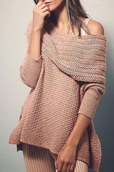Off-the-Shoulder, Blush, Side Slit, Irregular Hem Sweater.