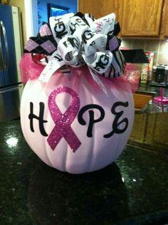 Decorated cancer awareness  pumpkin