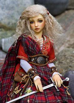 """Brigit, Celtic Goddess of Fire"" - An OOAK doll by Martha Boers"