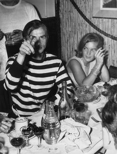 Romy & Rudolf Nureyev having dinner together in Nice, 1963