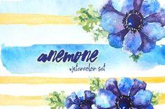Anemone - watercolor set by Undine on @creativemarket