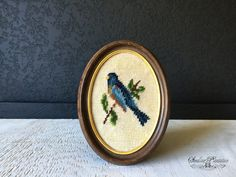 Vintage Needle Point Bird Wall Hanging Bird by seedlingplantation