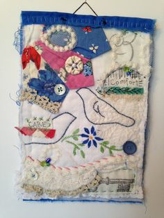 Mini quilt, quilt, art quilt, fiber art, fabric art, fabric collage, textile art, fabric assembly, embroidery, pieced, repurposed, upcycled