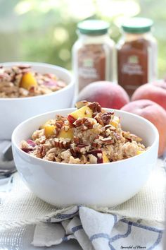 Peach Cobbler Oatmeal Cook with chopped dates instead of brown sugar