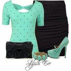 Blue/Green shirt with black polka dots, Black Skirt, Blue/Green shoes and bracelet, black mini purse