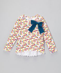 White Rainbow Heart Bow Tunic - Infant, Toddler & Girls | Daily deals for moms, babies and kids